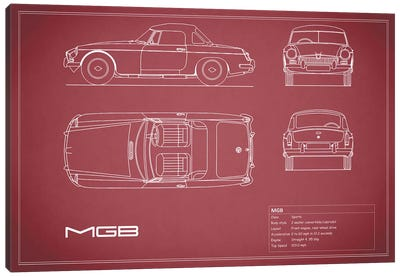 MG MGB Blue Canvas Art Print