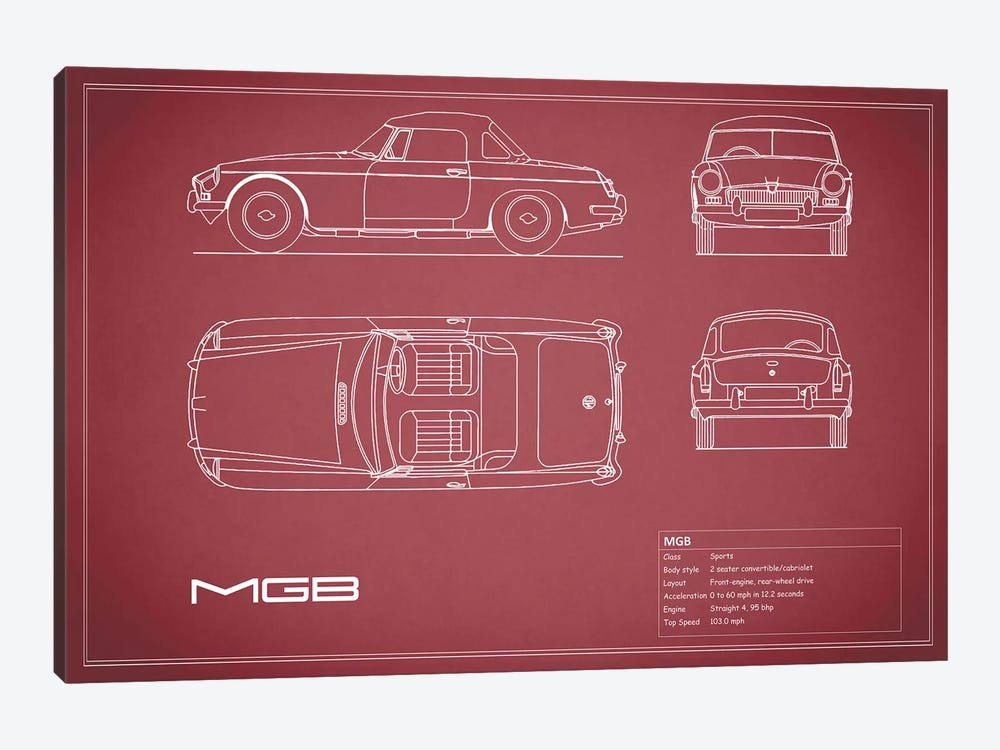 MG MGB Blue by Mark Rogan 1-piece Canvas Art Print