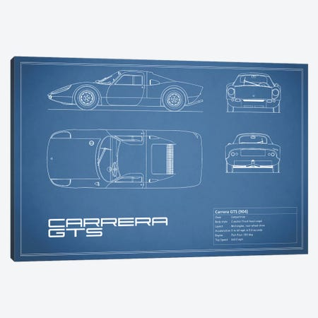 Porsche (904) Carrera GTS (Blue) Canvas Print #RGN209} by Mark Rogan Canvas Wall Art