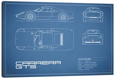 Porsche (904) Carrera GTS (Blue) Canvas Art Print