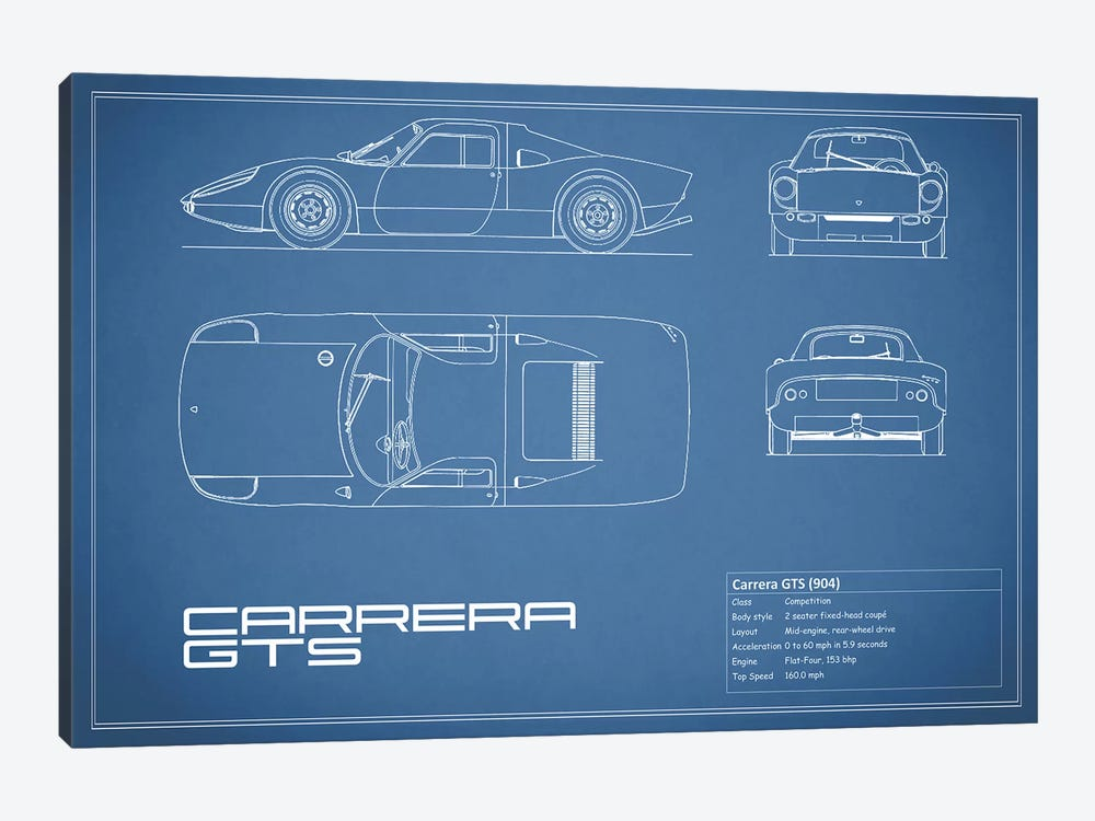 Porsche (904) Carrera GTS (Blue) by Mark Rogan 1-piece Art Print