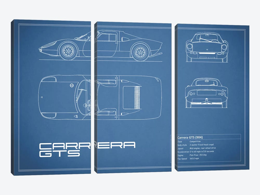 Porsche (904) Carrera GTS (Blue) by Mark Rogan 3-piece Art Print