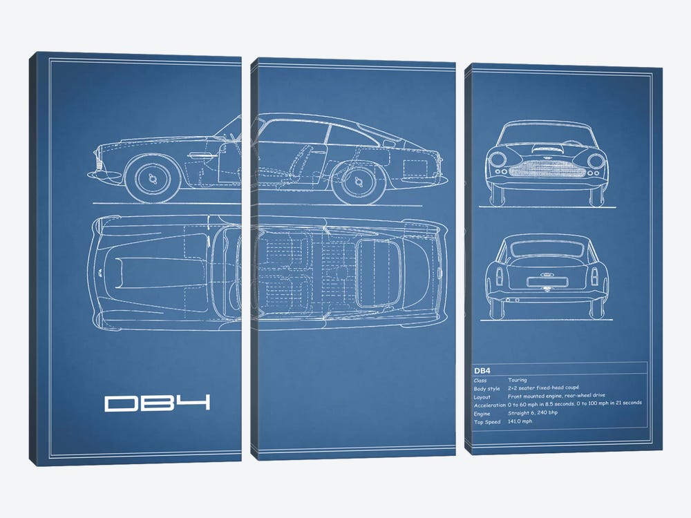 1962 Aston Martin DB4 (Blue) by Mark Rogan 3-piece Canvas Wall Art