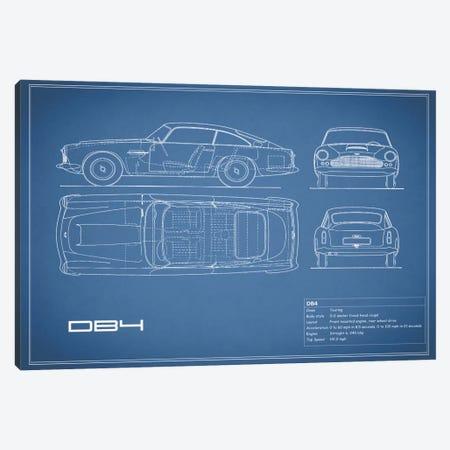 1962 Aston Martin DB4 (Blue) Canvas Print #RGN20} by Mark Rogan Canvas Artwork