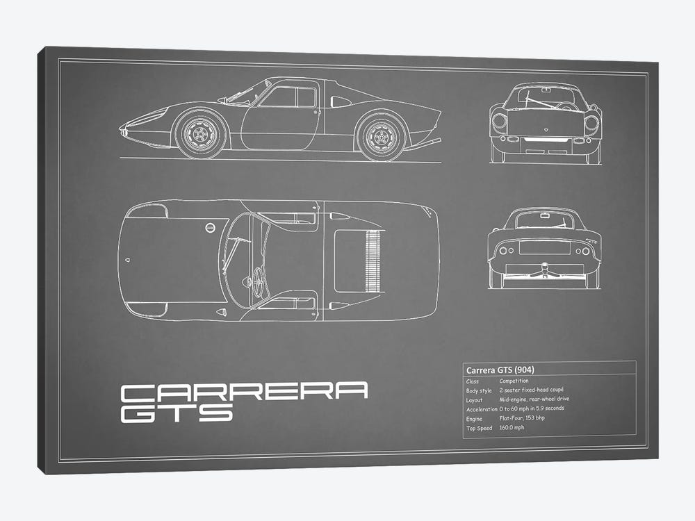 Porsche (904) Carrera GTS (Grey) by Mark Rogan 1-piece Art Print