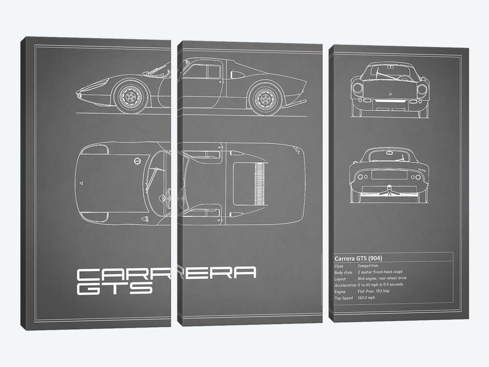 Porsche (904) Carrera GTS (Grey) by Mark Rogan 3-piece Canvas Print