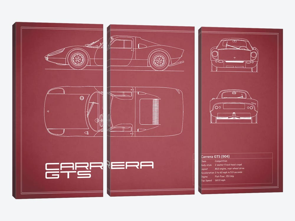 Porsche (904) Carrera GTS (Maroon) by Mark Rogan 3-piece Canvas Wall Art