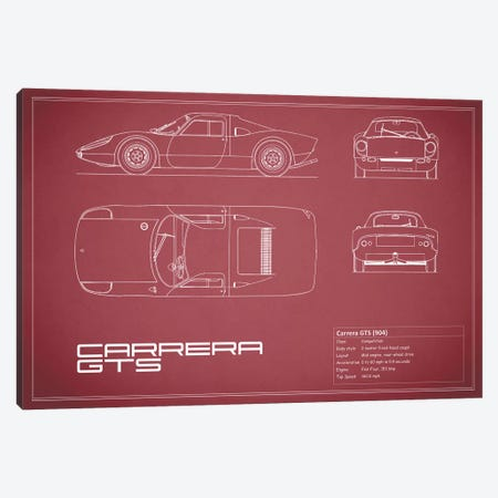 Porsche (904) Carrera GTS (Maroon) Canvas Print #RGN211} by Mark Rogan Art Print