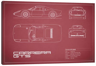 Porsche (904) Carrera GTS (Maroon) Canvas Art Print