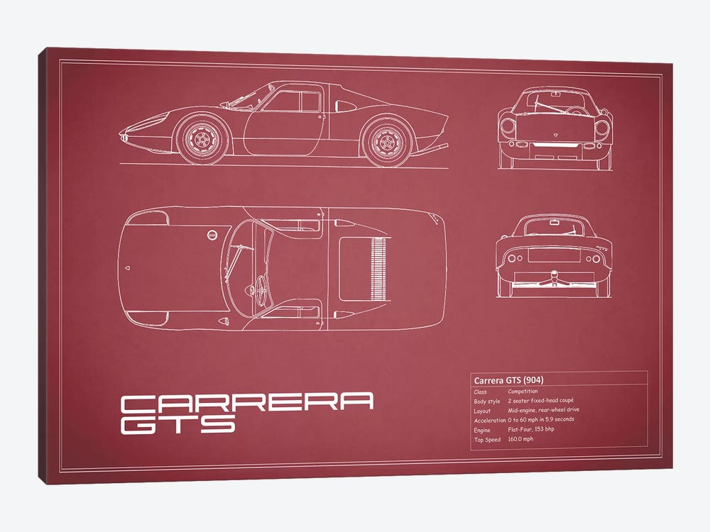 Porsche (904) Carrera GTS (Maroon) by Mark Rogan 1-piece Canvas Art