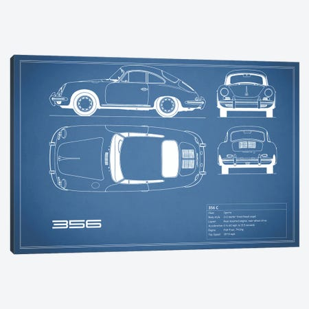 Porsche 356 C (Blue) Canvas Print #RGN213} by Mark Rogan Art Print