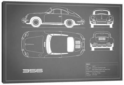 Porsche 356 C (Grey) Canvas Art Print