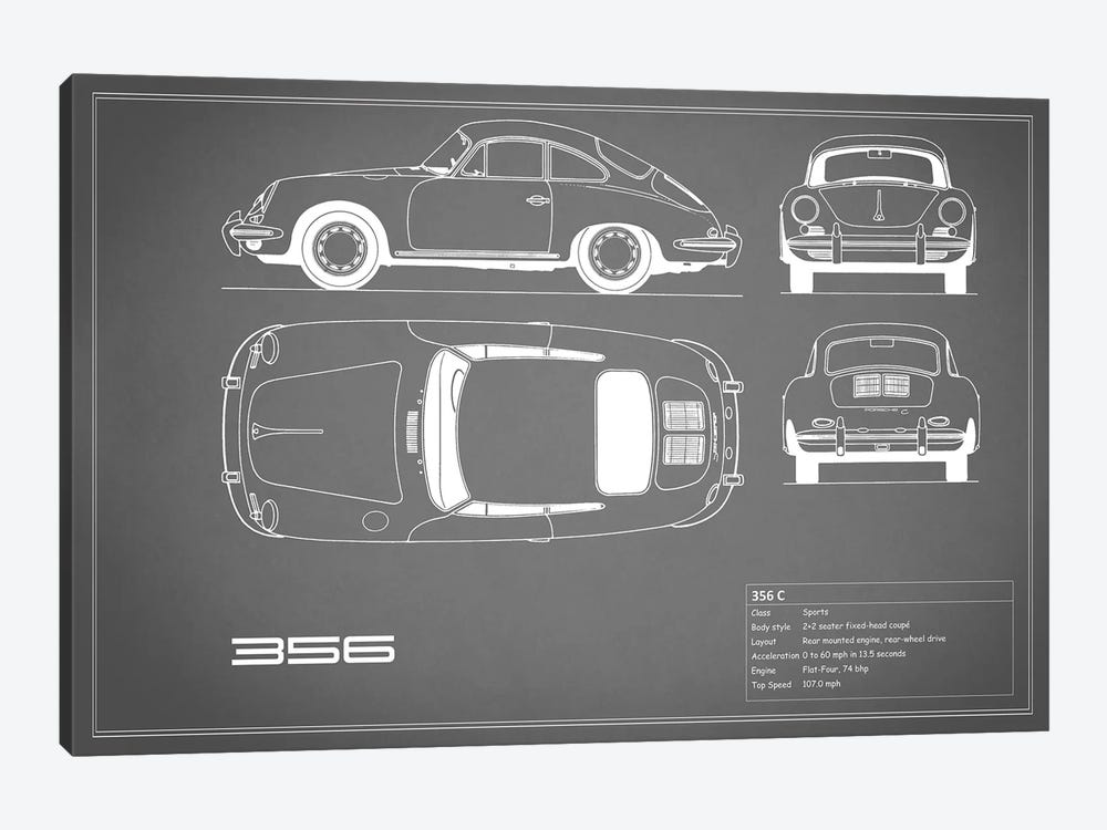 Porsche 356 C (Grey) by Mark Rogan 1-piece Art Print