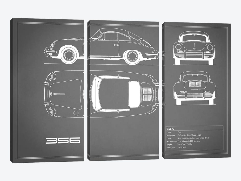 Porsche 356 C (Grey) by Mark Rogan 3-piece Art Print