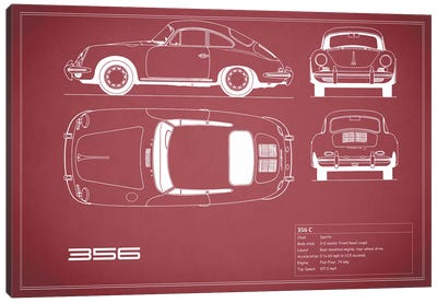Porsche 356 C (Maroon) Canvas Art Print