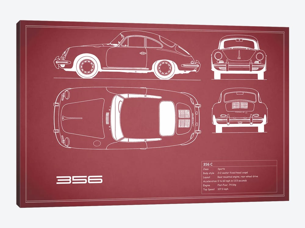 Porsche 356 C (Maroon) by Mark Rogan 1-piece Canvas Artwork