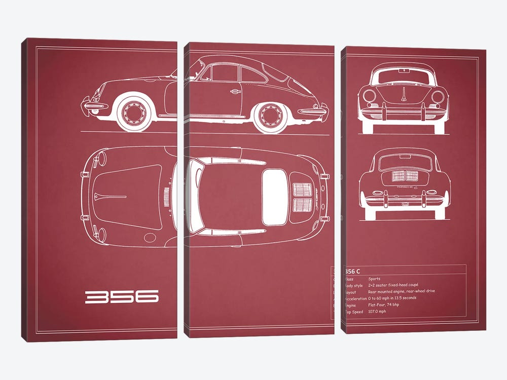 Porsche 356 C (Maroon) by Mark Rogan 3-piece Canvas Art