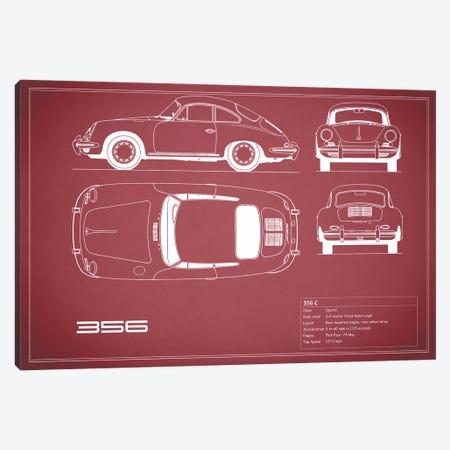 Porsche 356 C (Maroon) Canvas Print #RGN215} by Mark Rogan Canvas Wall Art