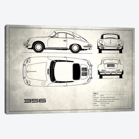 Porsche 356 C (Vintage Silver) Canvas Print #RGN216} by Mark Rogan Canvas Artwork