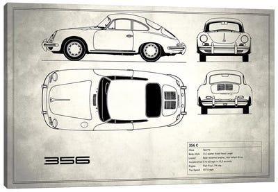 Porsche 356 C (Vintage Silver) Canvas Print #RGN216
