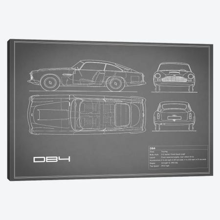 1962 Aston Martin DB4 (Grey) 3-Piece Canvas #RGN21} by Mark Rogan Canvas Wall Art