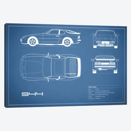 Porsche 944 Turbo (Blue) Canvas Print #RGN221} by Mark Rogan Canvas Wall Art