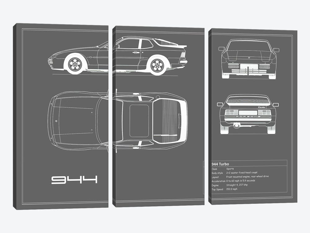 Porsche 944 Turbo (Grey) by Mark Rogan 3-piece Canvas Artwork