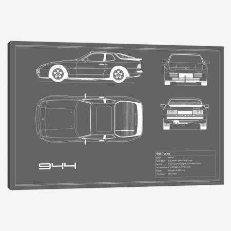 Porsche 944 Turbo (Grey) Canvas Print #RGN222} by Mark Rogan Canvas Artwork