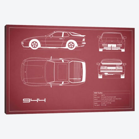 Porsche 944 Turbo (Maroon) Canvas Print #RGN223} by Mark Rogan Canvas Wall Art