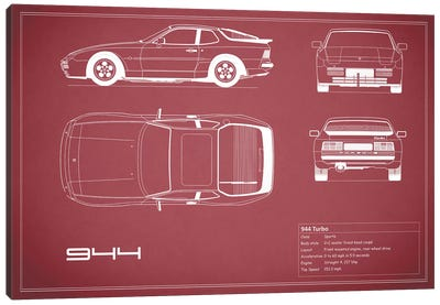 Porsche 944 Turbo (Maroon) Canvas Art Print