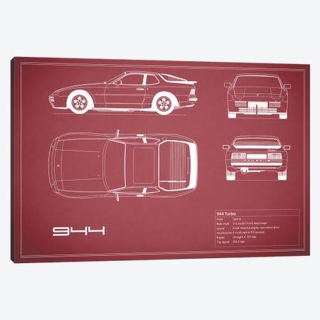 Porsche 944 Turbo (Maroon) Canvas Print #RGN223} by Mark Rogan Canvas Wall Art