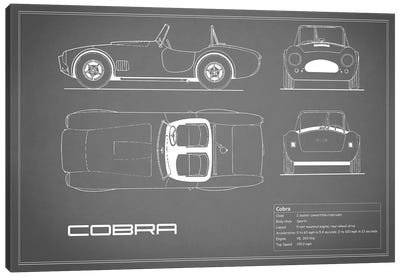 Shelby Cobra (Grey) Canvas Print #RGN226