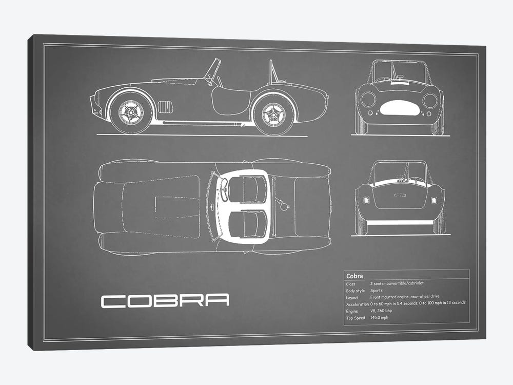 Shelby Cobra (Grey) by Mark Rogan 1-piece Canvas Wall Art