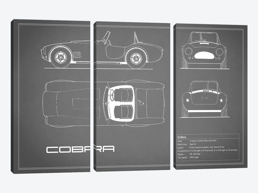 Shelby Cobra (Grey) by Mark Rogan 3-piece Canvas Artwork