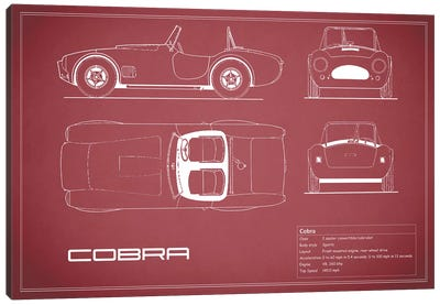 Shelby Cobra (Maroon) Canvas Art Print