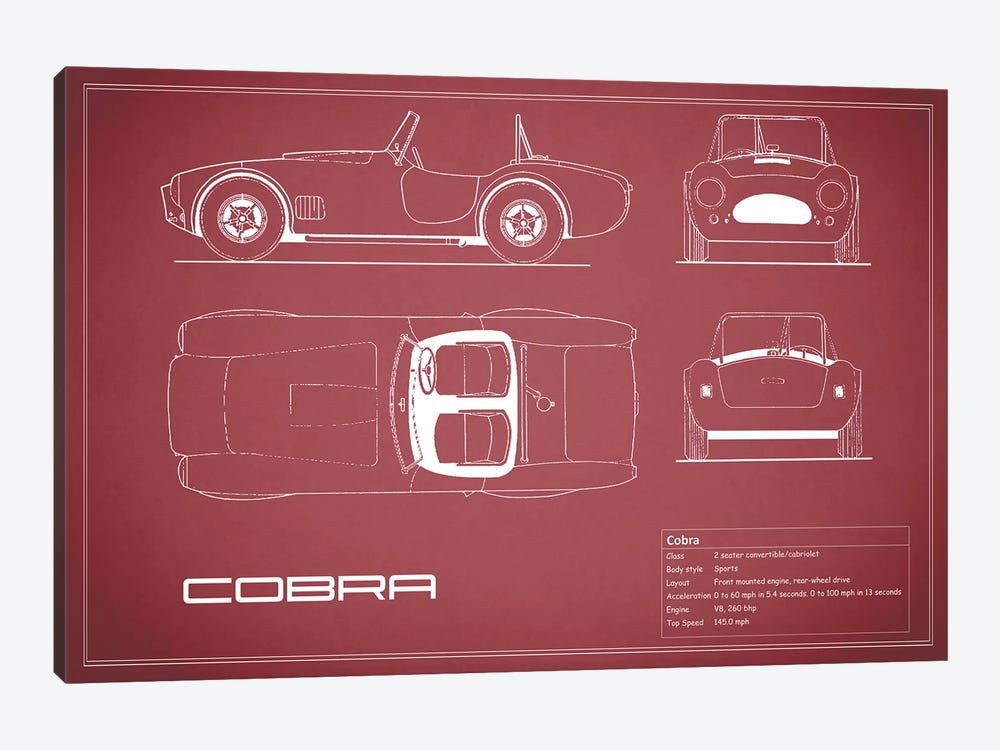 Shelby Cobra (Maroon) by Mark Rogan 1-piece Art Print