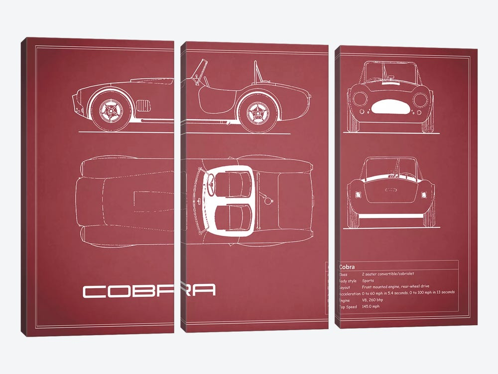 Shelby Cobra (Maroon) by Mark Rogan 3-piece Canvas Print