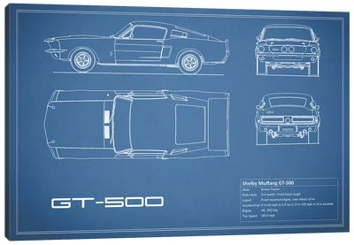 Automobile blueprints canvas art prints icanvas shelby mustang gt500 blue canvas art print malvernweather Images