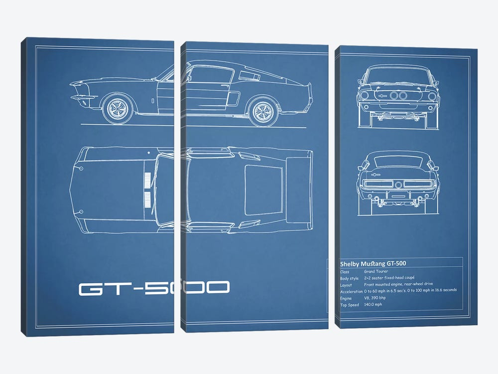 Shelby Mustang GT500 (Blue) by Mark Rogan 3-piece Canvas Print
