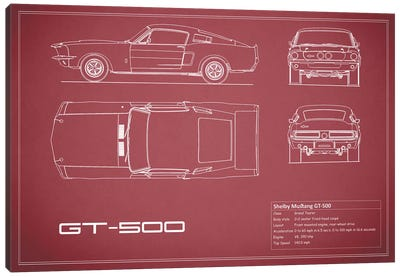 Shelby Mustang GT500 (Maroon) Canvas Print #RGN231