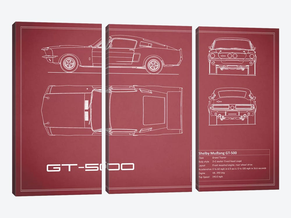 Shelby Mustang GT500 (Maroon) by Mark Rogan 3-piece Canvas Wall Art