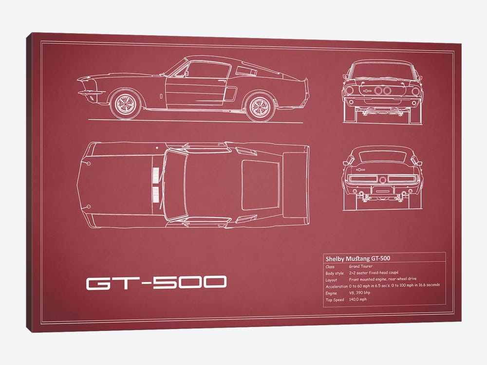 Shelby Mustang GT500 (Maroon) by Mark Rogan 1-piece Canvas Art