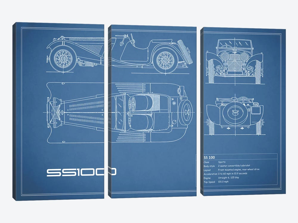 SS Cars Ltd. (Jaguar) 100 (Blue) by Mark Rogan 3-piece Canvas Wall Art