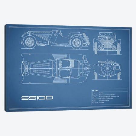 SS Cars Ltd. (Jaguar) 100 (Blue) Canvas Print #RGN233} by Mark Rogan Art Print