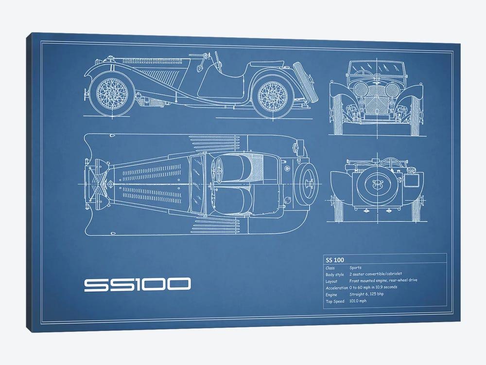 SS Cars Ltd. (Jaguar) 100 (Blue) by Mark Rogan 1-piece Canvas Art