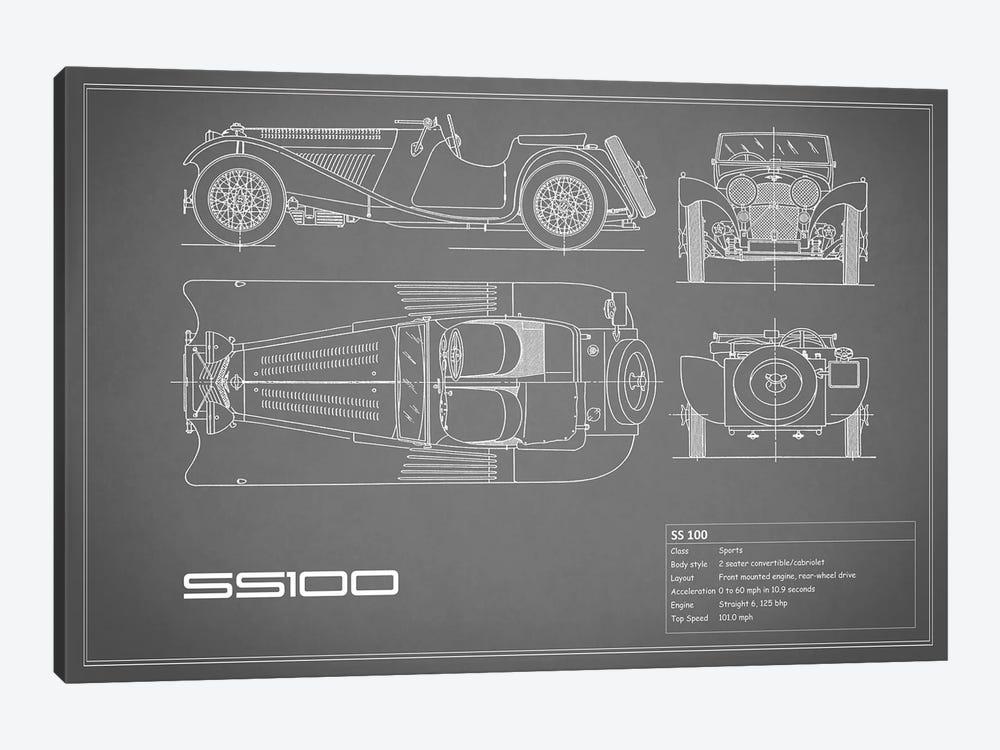 SS Cars Ltd. (Jaguar) 100 (Grey) by Mark Rogan 1-piece Canvas Art Print