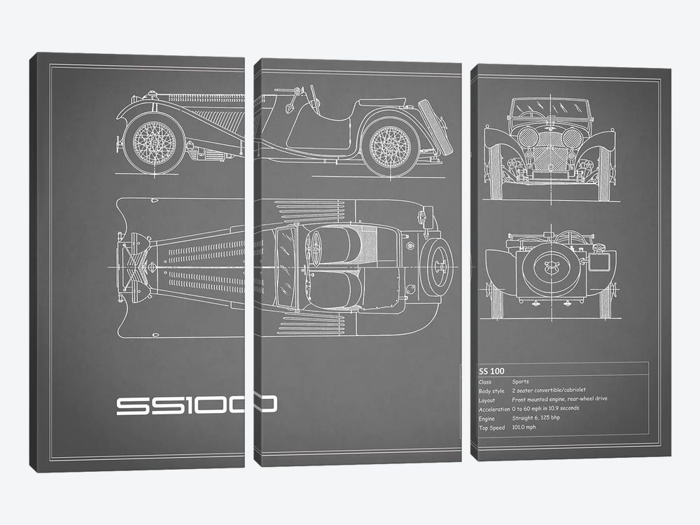 SS Cars Ltd. (Jaguar) 100 (Grey) by Mark Rogan 3-piece Canvas Print