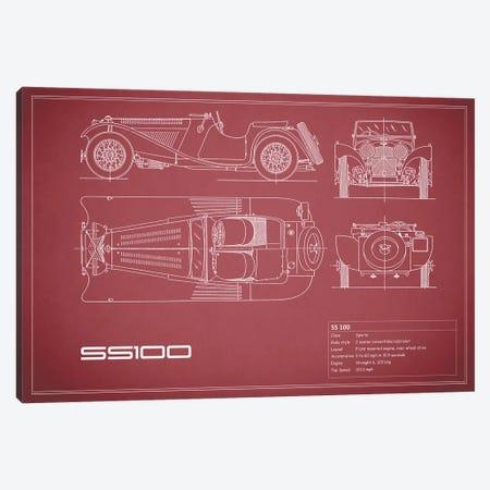 SS Cars Ltd. (Jaguar) 100 (Maroon) Canvas Print #RGN235} by Mark Rogan Canvas Artwork