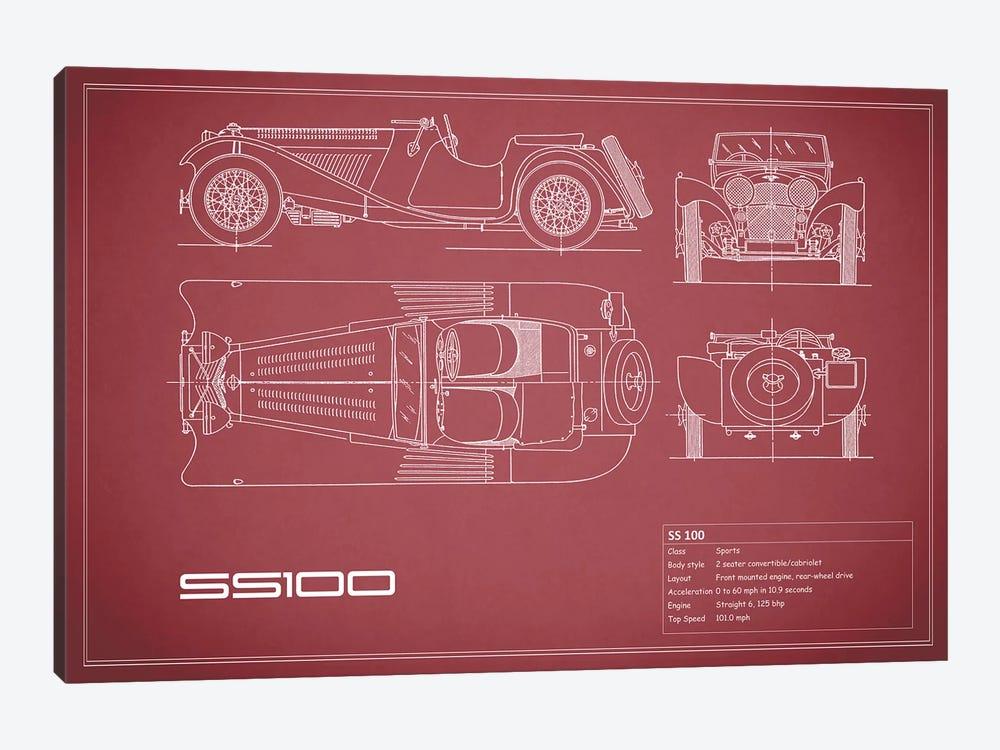 SS Cars Ltd. (Jaguar) 100 (Maroon) by Mark Rogan 1-piece Canvas Art