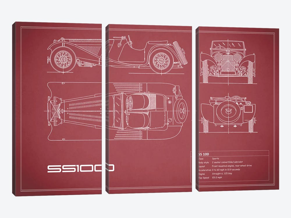SS Cars Ltd. (Jaguar) 100 (Maroon) by Mark Rogan 3-piece Canvas Artwork